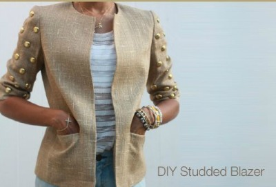 DIY tweed studded blazer