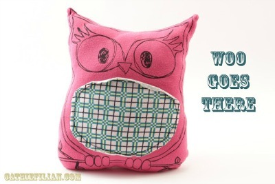 tee shirt owl pillow