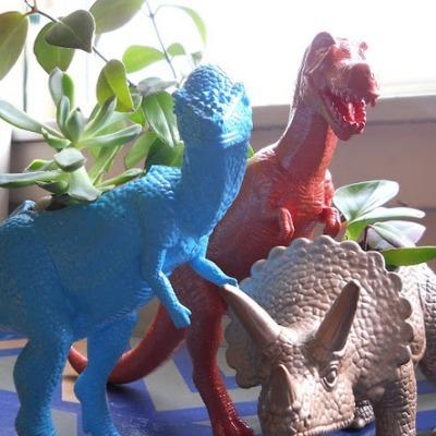 dinosaur toy craft, succulent planter, upcycled planter