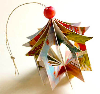 recycled christmas card house ornament