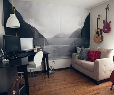 photo mural, apartment decor, diy wall art