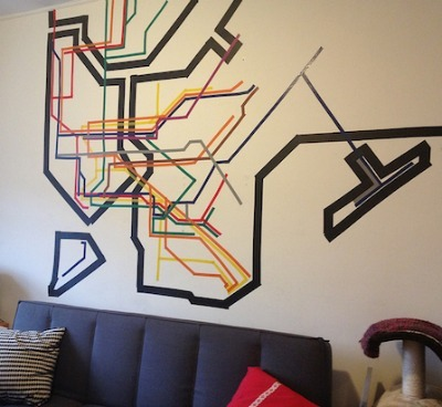 washi tape crafts, washi tape, wall art, nyc transit map art, subway art, washi subway art