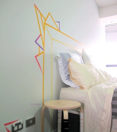 diy headboard, washi tape crafts, washi tape, apartment decor
