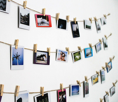 diy photo wall, photo crafts, apartment decor, hanging photos,