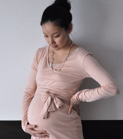 long sleeve wrap maternity dress