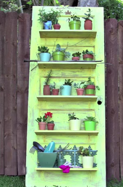 upcycled door shelves