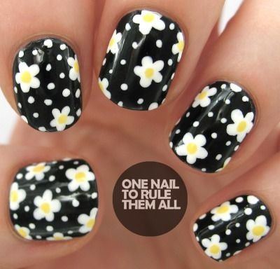 flower nail art, diy nail art, short nail art, summer nail art