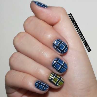 plaid nail art, fashion inspired nails, marc jacobs nails
