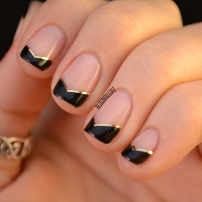 angled french nails, diy nail art
