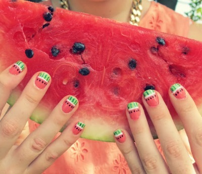 diy nail art, watermelon nail art, nail tutorial