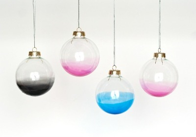 ombre painted glass ornament