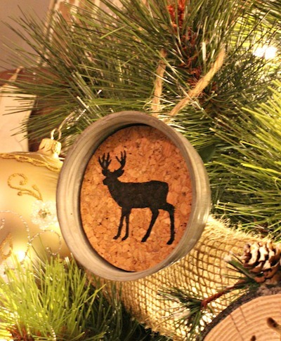 reindeer cork mason jar lid ornament