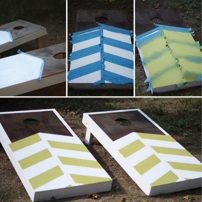 diy lawn games, diy cornhole board, homemade cornhole game