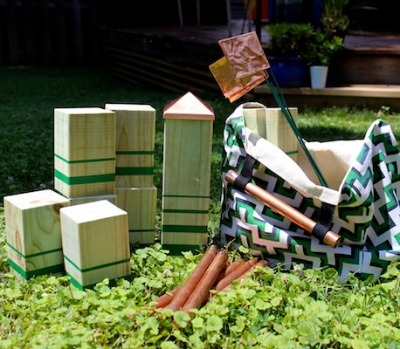 diy kubb set, kubb game, diy lawn games, homemade kubb