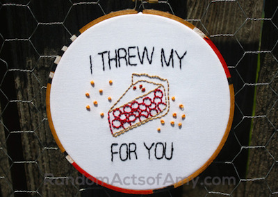 orange is the new black, embroidery, pie