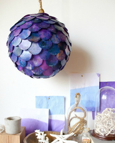 purple fish scale pendant lamp