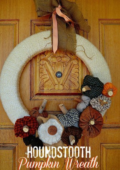 Fall diy Wreath felt houndstooth pumpkins
