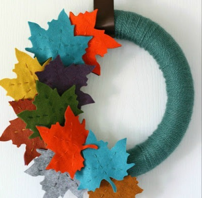 fall diy felt leaves yarn wrapped wreath