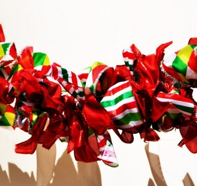 Christmas garland made from ribbons