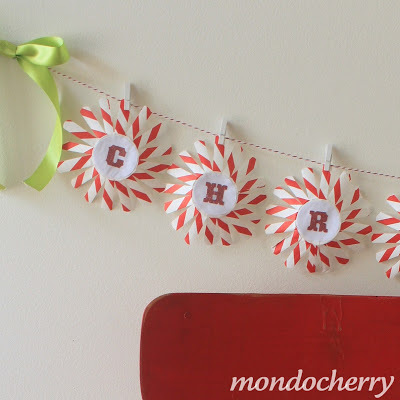 Christmas garland made from cupcake cases