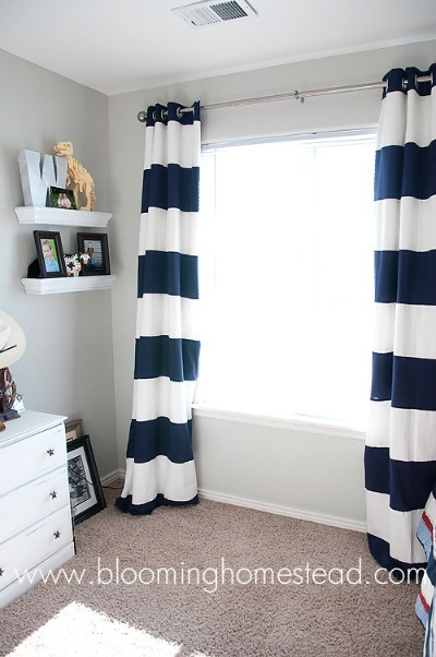 National Sewing Month, striped curtains, diy sewing project, home sewing project, diy curtains