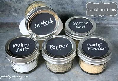 DIY spice jars, Chalkboard spice jar, Chalkboard paint crafts, Mason jar chalkboard paint
