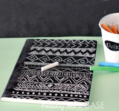 DIY notebook, Chalkboard notebook, Chalkboard paint crafts, DIY patterned notebook