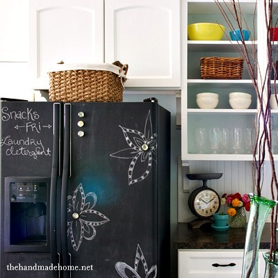 Chalkboard paint fridge, DIY fridge, Chalkboard paint crafts, Fridge drawing