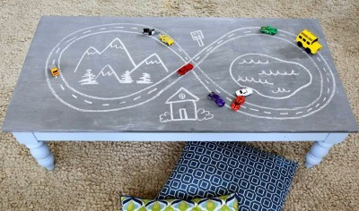 DIY kids crafts, Chalkboard paint table, Chalkboard projects, DIY kids play table