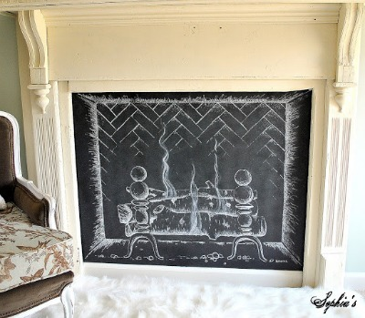 Chalkboard fireplace, DIY chalkboard paint, Chalkboard paint crafts, Fireplace DIY