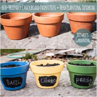 Painted pots, Chalkboard paint crafts, Chalkboard paint garden pots