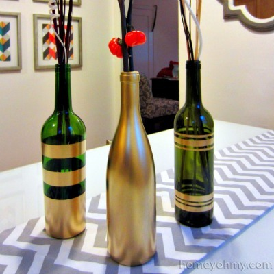 Spray paint wine bottle, Metallic wine bottle craft, Striped wine bottle