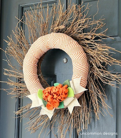 fall diy wreath fabric felt burlap