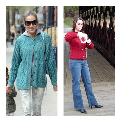 Celebrity Style, Sarah Jessica Parker, Cable knit cardigan, New York Style, knit sweater