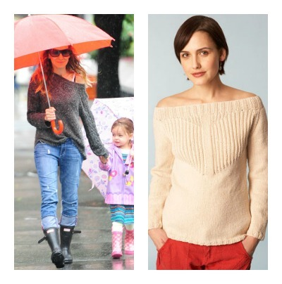 Celebrity Style, Sarah Jessica Parker, Boat Neck Knit Pullover, New York Style, knit sweater