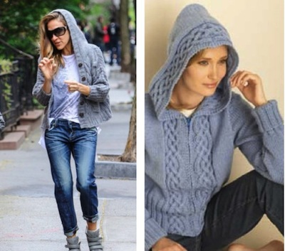 Celebrity Style, Sarah Jessica Parker, V-Neck Knit Pullover, New York Style, knit sweater