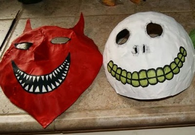 Nightmare Before Christmas costume, DIY Halloween mask, DIY Nightmare Before Christmas mask, Paper mache mask