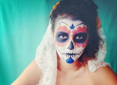 Dia de los Muertos make up, DIY Halloween mask, DIY Dia de los Muertos mask