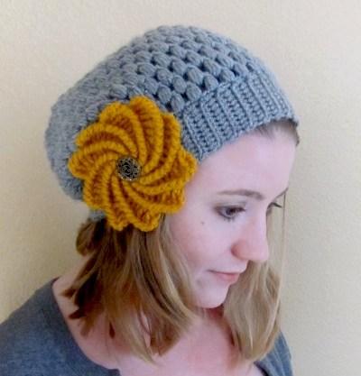 puff slouch crochet hat