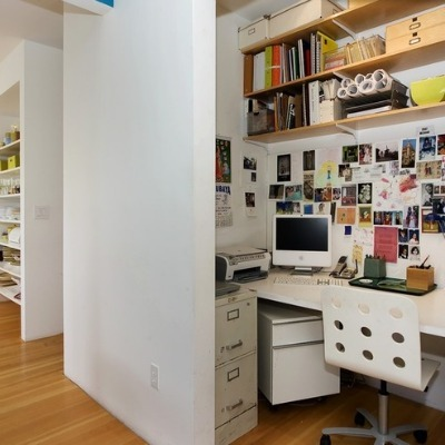 Closet space converted into office space