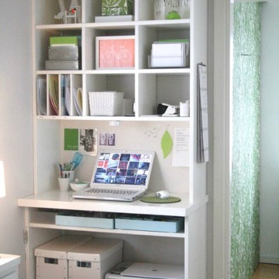 Bookcase converted into office space