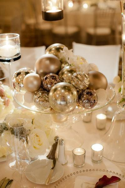 DIY Winter Wedding, wedding centerpiece, winter wedding centerpieces, glass ball centerpieces