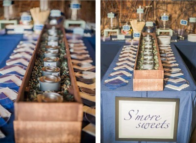 DIY Winter Wedding, wedding centerpiece, winter wedding centerpieces, smores bar, s