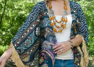 Celebrity Style, Olivia Palmero, fringe, fringe kimono, fringed scarf kimono, refashioned scarf