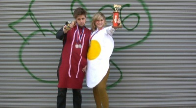 Bacon & Eggs homemade halloween Costume
