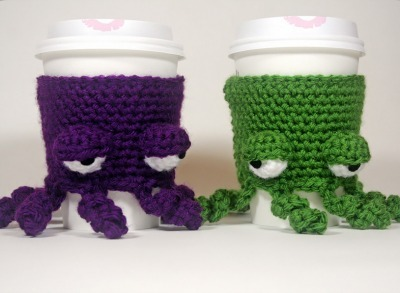 Octopus crochet craft, Crochet coffee cozy