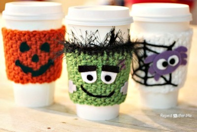 Jack O Lantern crochet, Frankenstein crochet cozy, Halloween coffee cozies, DIY coffee cozy, Crochet tea cozy
