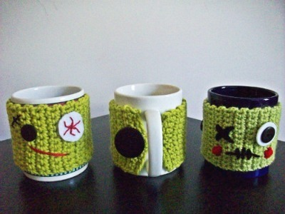Zombie crafts, Zombie coffee cozy, Crochet zombie cozy, DIY coffee cozy