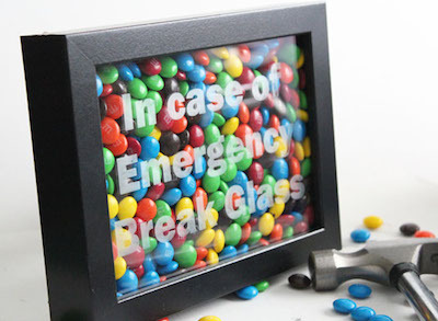 etched glass frame emergency candy