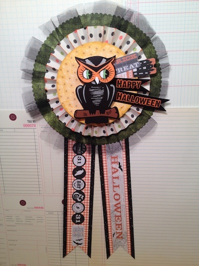 happy halloween medallion paper rosette owl
